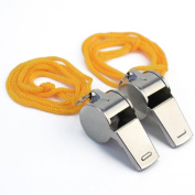 2x Outdoor Sports Training Race Coaches Referee Metal Blowing Whistles Lanyard