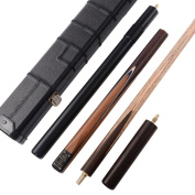 Cuesoul Classic Handmade 140cm Rosewood 3/4 Piece Snooker Cue with Black Cue Case and Aluminium Telescope Extension