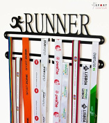 Running medal display double hanger Black