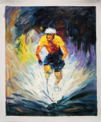 Cycle Race - Large Fine Art oil on canvas painting - Superb quality and craftsmanship, hand made wall art