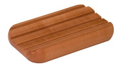 Soap dish made of pear wood, rounded shape, with rubber feet