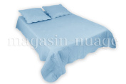 Quilted Bedspread, Single Sky-Blue + 1 Flora Cushion Cover