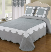 Quilted Bedspread 2 Seater NELLY Two Cushion Covers with Grey