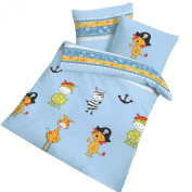 Träumschön Lawn Cloth Blue Pirate Bed Sheets 135 x 100-made in Germany