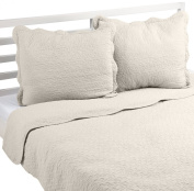 Linder 0581/29/835/230 Castilla Quilted Bed Throw with 2 Pillow cases unbleached cotton - 250 x 230 cm Dark