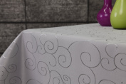 Ornament Damask Table Cloth Round 180 CM First-Tex CM Silver