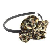 Satin Leopard print Aliceband Flower Brown