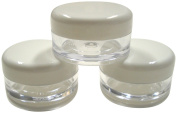 5ml Empty Plastic Cosmetic Jars x 50 CLEAR with WHITE Lids for Creams/Sample/Make-Up/Glitter Storage