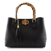 Woman Handbag With Polished Wooden Handles In And Leather Tassel Black - Leather Goods Made In Italy - Woman Bag
