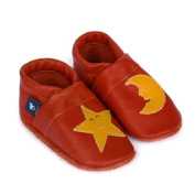 Pantau.eu Lederpuschen leather crawling shoes first walking shoes with Star and Moon