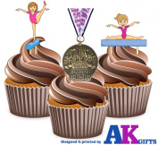 12 X Gymnastics Medal Happy Birthday Girls Mix - EDIBLE WAFER CARD CAKE TOPPERS STAND UPS