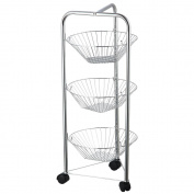 Home Discount® Kitchen Trolley Three Tier Chrome Vegetable Fruit Basket Storage Trolley Rack Stand With Wheels