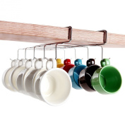 FunkyBuys® Deluxe Stainless Steel Chrome Coated Under Shelf 10 Mug Cup Holder (SI-K1011) w/ Platic Caps on Hooks, Silver