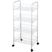 Home Discount® Kitchen Trolley 4 Tier Kitchen Vegetable In White Storage Trolley Rack Cart With Wheels