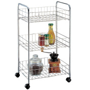 Home Discount® Kitchen Trolley 3 Tier Kitchen Vegetable Chrome Storage Trolley Rack Cart With Wheels