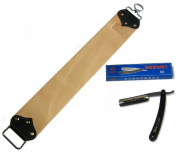 Garos Goods 7.6cm Leather Barber Strop Strap with Gold Dollar Razor