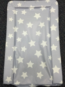 Deluxe Unisex Baby Waterproof Wipeable Changing Mat with Raised Edges - Grey with White Stars