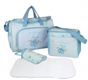 4pcs Stylish Designer Mummy Tote Waterproof Handbag Baby Nappy Nappy Changing Bag Set Nursing Messenger Bag Changing Mat Milk Bottle Holder Case