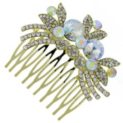 Heirloom Gold and Austrian Crystal Bridal Hair Comb Clip