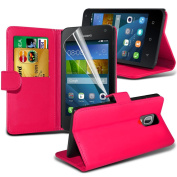 Fone-Case High Quality Hot Pink Huawei Y3/ Huawei Ascend Y3 Case Executive Wallet Book Style Cover Made From PU Leather with 3 Credit Card Holder slots, 1 Screen Protector and 1 Colour Coded Aluminium Adjustable Pen