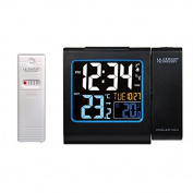 Lacrosse Technology WT552-BLA Radio-Controlled Alarm Clock with Red Projection, LCD Screen and Shows Indoor / Outdoor Temperatures, Black