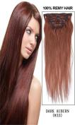 60cm 7pcs Silky Straight Full Head Remy Clip In Human Har Extensions 80g/set #33 dark auburn