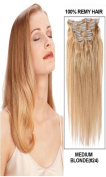 60cm 7pcs Silky Straight Full Head Remy Clip In Human Har Extensions 80g/set #24 ash blonde