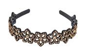 Yeshine Lady Rhinestone and Crystal Beaded Flower Design Plastic Headband, Hairband,Golden