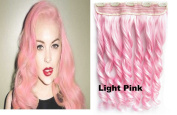 Beauty Wig World 60cm 130gr One Piece Colourful Curly 3/4 Head Synthetic Clip On/in Hair for Halloween Cosplay Colour#Light Pink