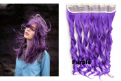 Beauty Wig World 60cm 130gr One Piece Colourful Curly 3/4 Head Synthetic Clip On/in Hair for Halloween Cosplay Colour#Purple