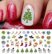 Christmas Holiday Assortment Water Slide Nail Art Decals Set #6- Salon Quality 14cm X 7.6cm Sheet!