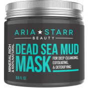Aria Starr Beauty Dead Sea Mud Mask For Face, Acne, Oily Skin & Blackheads - Best Facial Pore Minimizer, Reducer & Pores Cleanser Treatment - 100% Natural For Younger Looking Skin 260ml