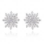 Silver Rhinestone Gem Crystal Snowflake Stud Earrings Gift Present Christmas