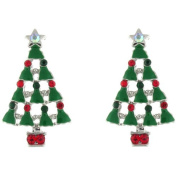 Clip On Earrings Store Green Enamel and Multi Crystal Christmas Tree and Angel Clip On Earrings