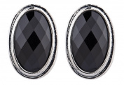 CLIP ON EARRINGS - SILVER PLATED WITH BLACK OVAL STONE - Winnie by Bello London