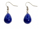 Handmade Dark Colour Lapis lazuli Gemstone Drop Earrings (Organza Gift Pouch Included).