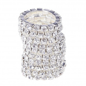JaneDream 10 pcs Women's Ring Crystal Jewellery Rings simple design Silver