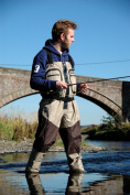 BISON BREATHABLE ZIP FRONT STOCKING FOOT CHEST WADERS
