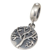 Tree of Life with Clear CZ Dangle 925 Sterling Silver Bead Fits Pandora Charm Bracelet