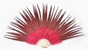 Hot-fans Marabou and Pheasant Feather Fan Burlesque Dance 70cm x 130cm Gift Box, Red