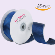 Laribbons Wired Edge Craft Ribbon, 2.5cm - 1.3cm By 25-yard Spool, Blue Series