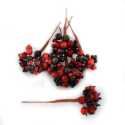 Floristrywarehouse Artificial Berries Red Burgundy Pack of 8 berry picks with 192 berries 13cm