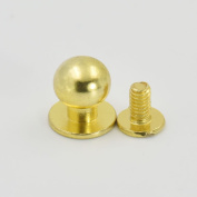 "25 Sets 10mm 3/8"" Brass Round Head Button Stud Screwback spot For Screw Chicago nail Nickle Gold Nickle-Black Colour Choice"