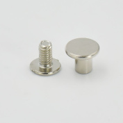 "50 Sets 9.8mm(3/8"") Brass Flat Head Button Stud Screwback spot For Screw Chicago nail Nickle Gold Colour Choice"