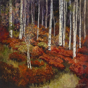"""Oil Painting Print of , Quaking Aspen Forest """"Red Study""""-11x11, Painted By Stewart Huntington"""