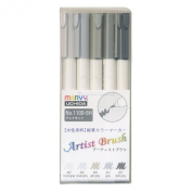 Marvy aqueous dye potted cucumber marker artist brush 5 pcs Grey set 1100-5H