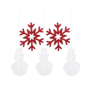 Creative Party Snowman & Snowflakes Glitter Hanging Christmas Decorations
