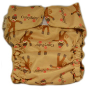 CuteyBaby All-in-One Nappy - One Size Fits All - Sock Monkey