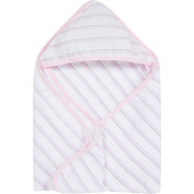 MiracleWare Pink & Grey Stripes Muslin Hooded Towel