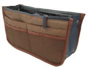 LEFV™ Handbag Organiser Liner Insert 13 Compartments Nylon Comestic Gadget Purse Multi-function Travel Makeup Pouch Organiser Tidy Pocket Double Zipper Case Toiletry Bag Coffee